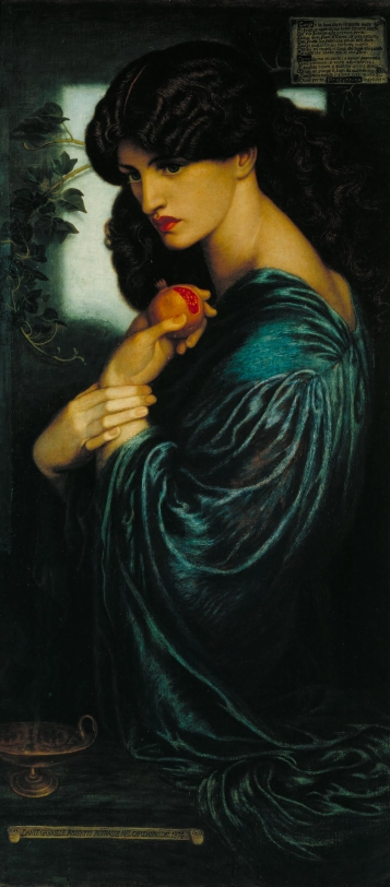Rossetti's soulful painting of Peresphone, the goddess of the underworld, wife of Hades, and the emblem of paradox manifest.